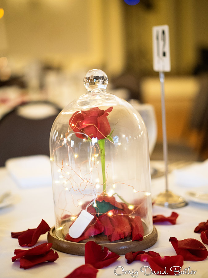The rose from Beauty and the Beast wedding reception Table Decor
