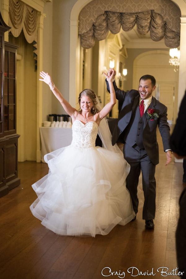 Bride and Groom entering Lovett Hall
