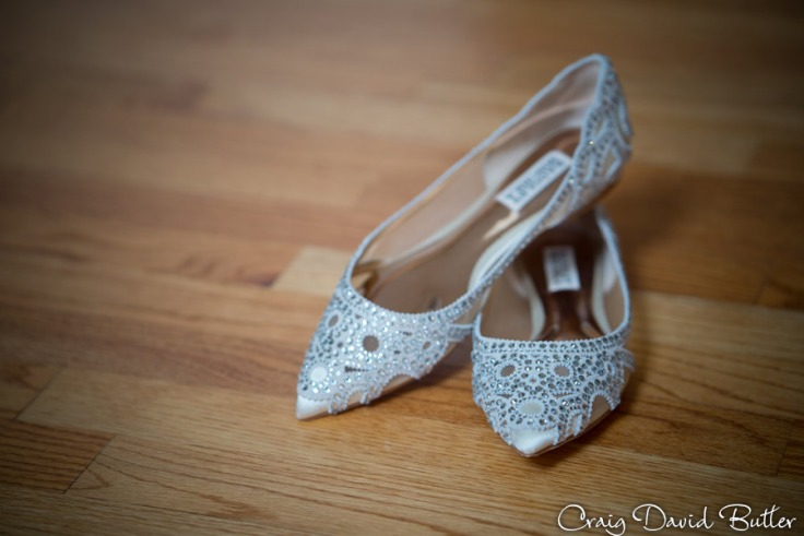 Brides wedding shoes at the Inn at St. Johns in Plymouth MI by Craig David Butler