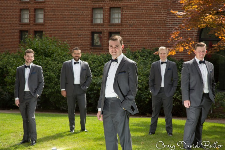 Groom and Groomsmen formal portrait at the Inn at St. Johns in Plymouth MI by Craig David Butler