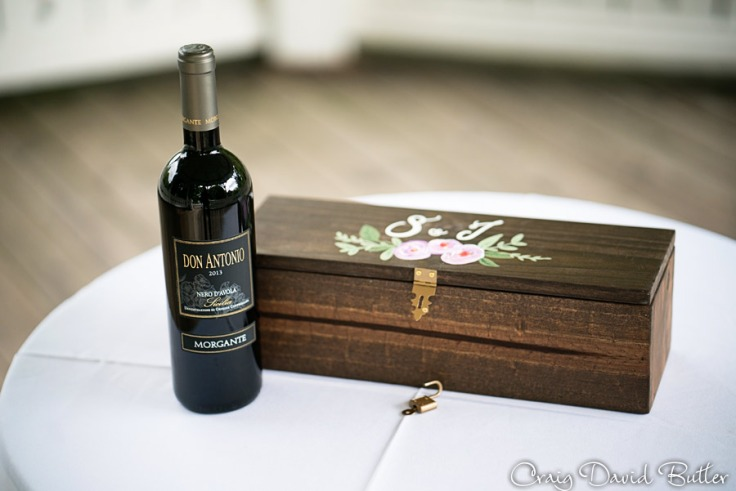 Wedding trends wine box with letter at Mill race village in NOrthville MI