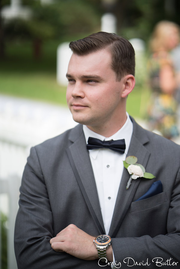 Portrait of the Groom at Mill Race Village in Northville MI by Craig David Butler