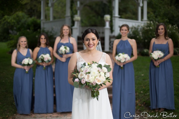 Bride and Bridesmaids portrait at Mill Race Village in Northville MI by Craig David Butler