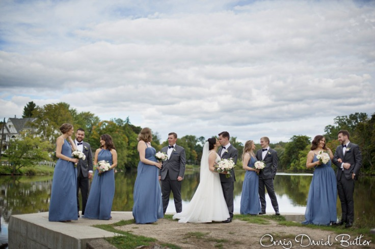 Bridal party portrait at Mill Race Village in Northville MI by Craig David Butler