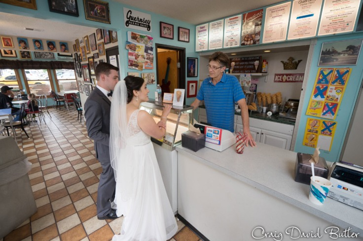 Bride and groom at Dairy King in Plymouth MI