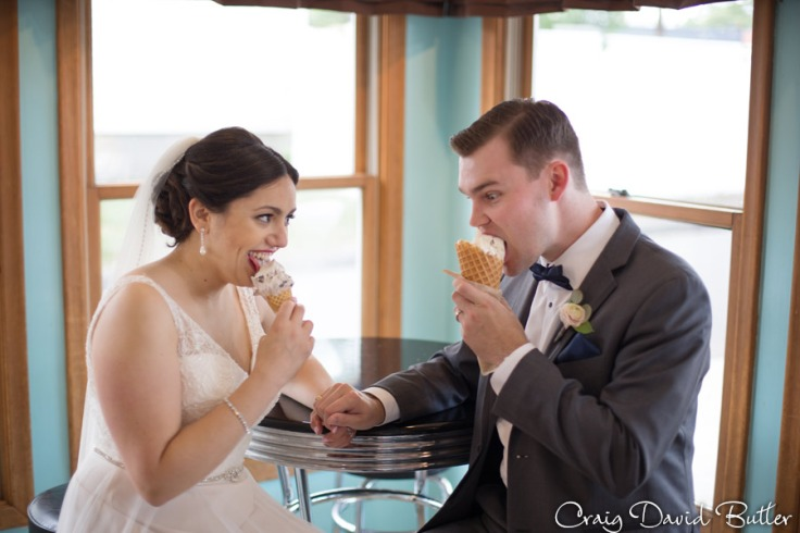 Bride and groomat Dairy King in Plymouth MI by Craig David Butler