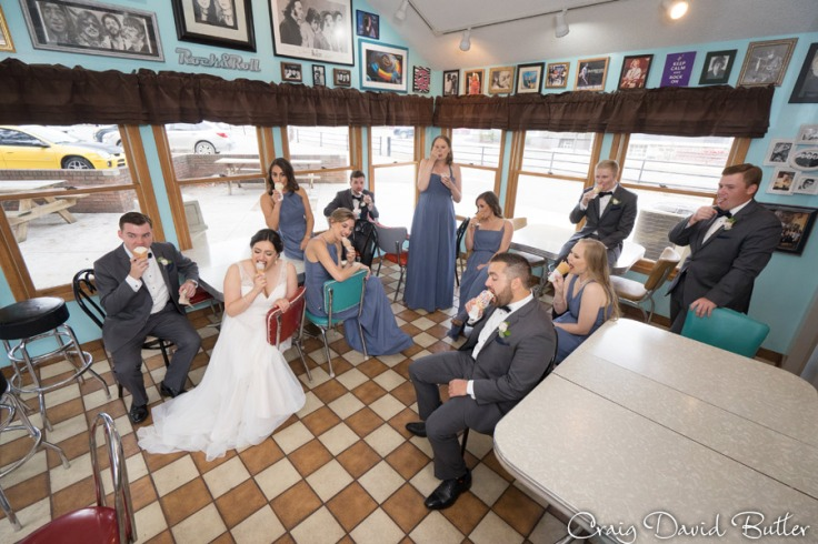 Bridal party eating ice cream at Dairy King at Dairy King in Plymouth MI by Craig David Butler