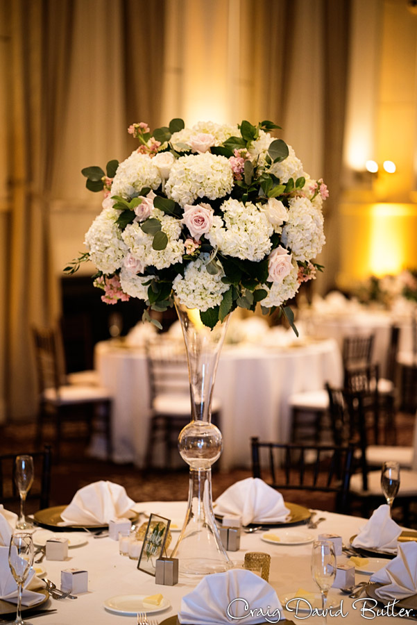 Centerpieces at the wedding reception in the Grand Ballroom at the Inn at St. John's in Plymouth MI by Craig David Butler