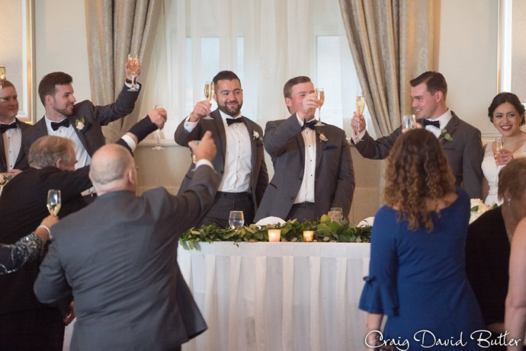 Father of the bride toast at the wedding reception in the Grand Ballroom at the Inn at St. John's in Plymouth MI by Craig David Butler