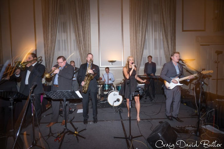 The band at the wedding reception in the Grand Ballroom at the Inn at St. John's in Plymouth MI by Craig David Butler