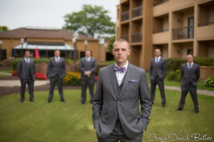 Groom and Groomsmen photo group shot at the Courtyard by Marriott Livonia