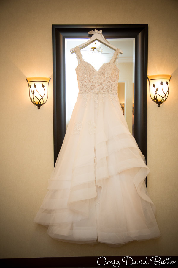 Trisha's gown hanging in the bridal room at the church in Dearborn MI
