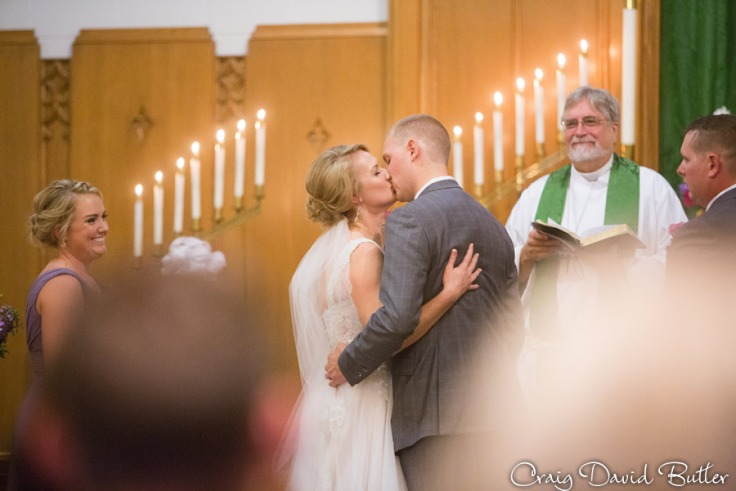 First Kiss as Husband and wife at Emmanuel Lutheran Church in Dearborn MI