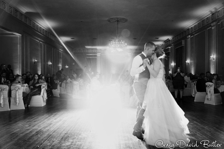 Awesome photo of Bride & Groom during their first dance at the Meeting House grand ballroom