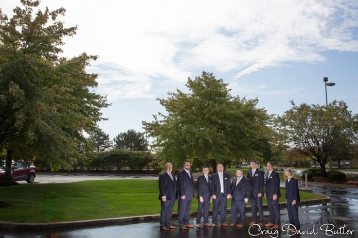 Groom and his groomsmen outside the Doubletree in Dearborn.