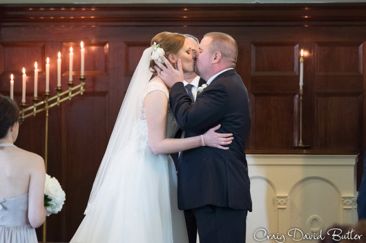 First Kiss as Man and Wife at Martha Mary Chapel in Dearborn MI