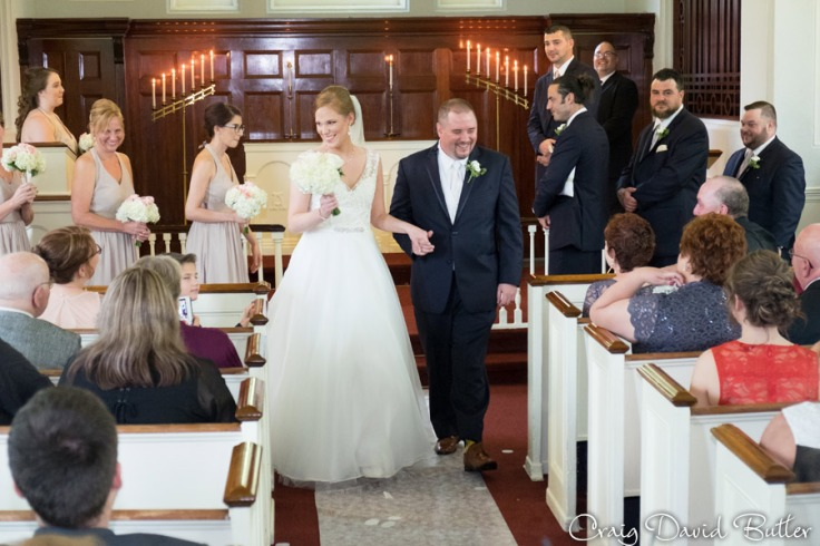 Wedding Recessional of Bride and Groom at Martha Mary Chapel