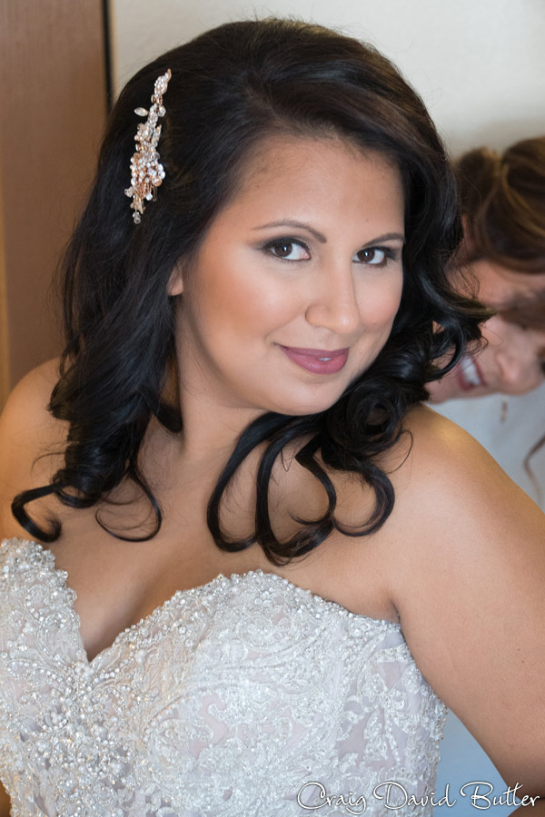 Bride portrait during prep at Marriott Livonia MI