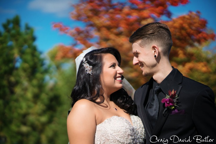 Bride & Groom Portrait in fall colors Livonia MI by Craig David Butler
