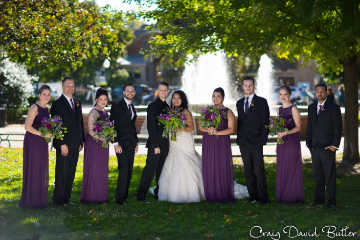 Bridal Party portrait in Kellogg park in Plymouth MI