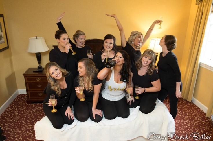 Bride & Bridesmaids in the Bridal Suite