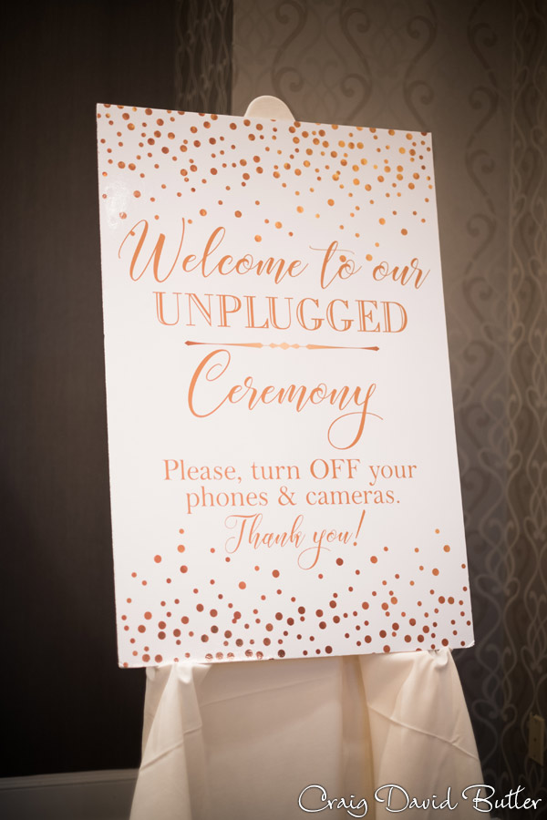 Unplugged wedding sign at the Dearborn Inn
