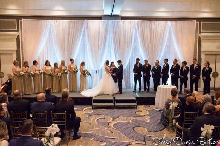 The Wedding Ceremony in the Main Ballroom at the Dearborn Inn