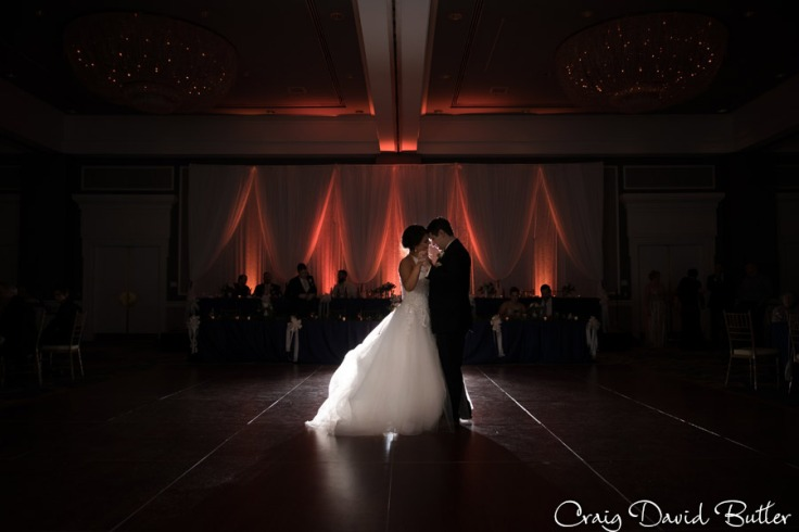 Bride and groom during their first dance in the Main ballroom at the Dearborn Inn