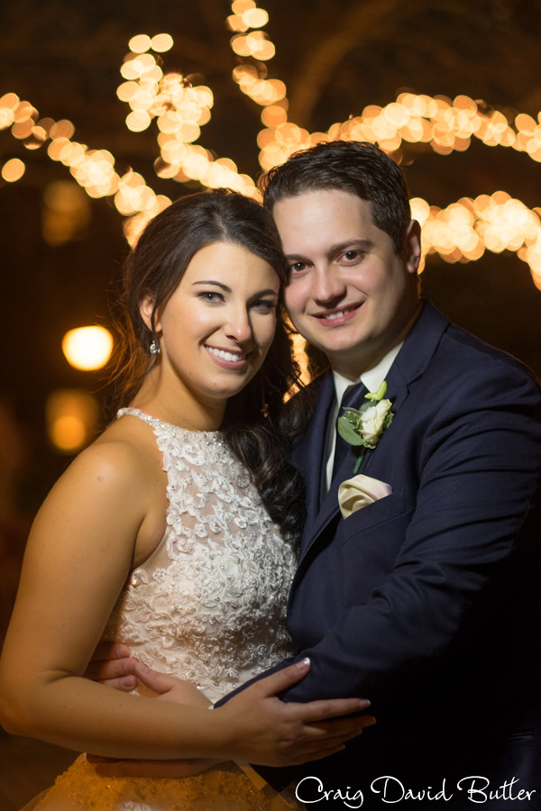 Bride and Groom night portrait at the Dearborn Inn