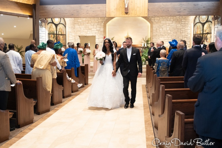 Bride and Groom recessional during the wedding