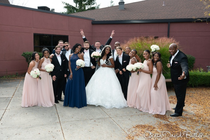 Bridal party fun photo at Holy Family in Novi MI
