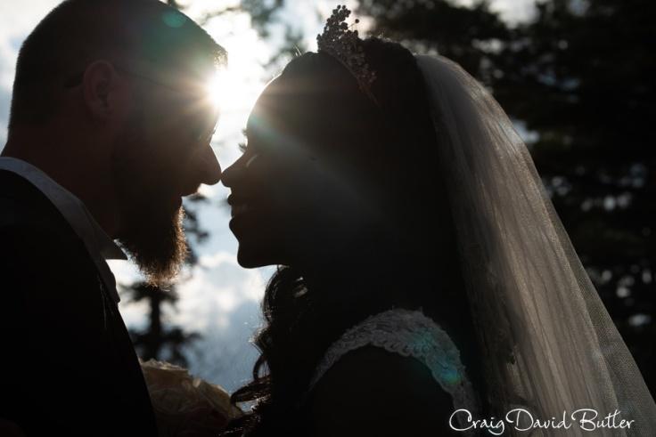 Sunburst photo of bride and groom