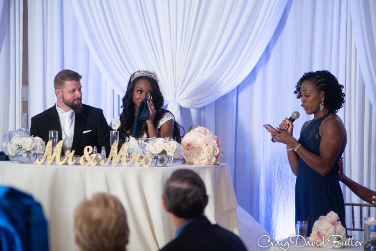 Tiffany Porter toasts her sister at her wedding reception